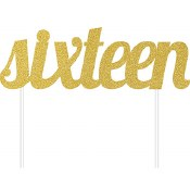 Sixteen Cake Topper Gold