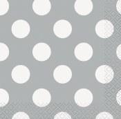 Polka Dot Bev Napkins Silver