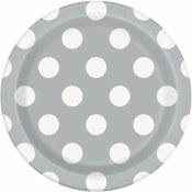 Polka Dot Dessert Plates Silvr