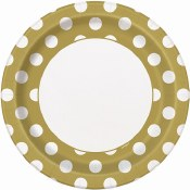 Gold Polka Dot Lunch Plates