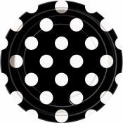 Polka Dot Dessert Plates Black
