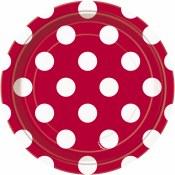 Polka Dot Dessert Plates Red