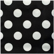Polka Dot Bev Napkins Black