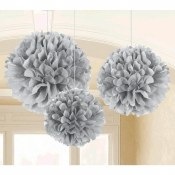 Fluffy Decor Balls Silver