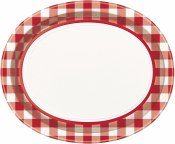 Red Gingham Lunch Oval Plates
