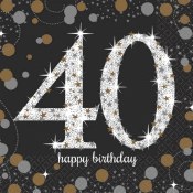 40th Sparkling Bev Napkins