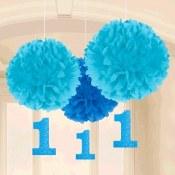 1st Birthday Blue Fluff Decor