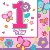 1st Birthday Sweet Girl Napkin