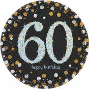 60th Sparkling Dessert Plates