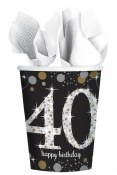 40th Sparkling Paper Cups