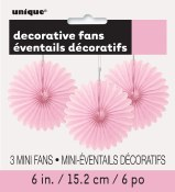 Paper 6in Fan Decor Lt Pink