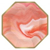 Coral Marble Dessert Plates