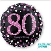 80th Sparkling Pk Foil Balloon