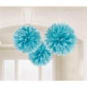 Fluffy Decor Balls 17in Lt Blu