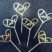 Love Gold Cake Topper-12ct