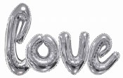 Love Script Balloon Silver