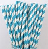 Paper Straws Turq Stripe