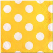 Polka Dot Bev Napkins Yellow