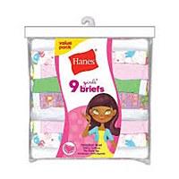 Hanes Girls Briefs 9 Pack #P913BR
