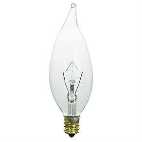 60 Watt Flame Tip Chandelier Bulb, Candelabra Base, Clear