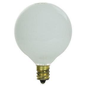 40 Watt G16.5 Globe Bulb, Candelabra Base, White