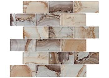 Beige Onyx Volcanic Essense Glass Mosaic on 11.75 X 11.75 Sheet
