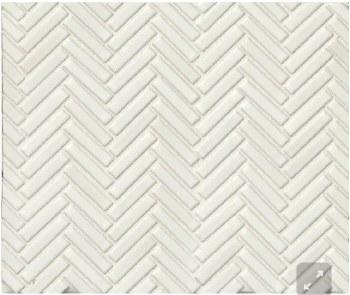 """90 Degree Herringbone White Porcelain Mosaic on 11X12.25"""" Sheet, DEC90WHI122MO"""