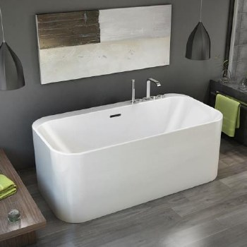 Aria Celesta Freestanding Tub White 63X31.5 With Brushed Nickel Drain & Overflow