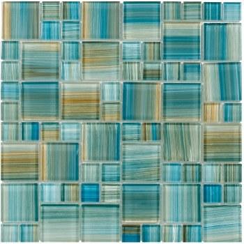 Aquamarine Brush Glass Mosaic on 12x12 Sheet