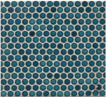 "360 Lagoon Penny Round Mosaics 3/4"" on 12X12 Sheet, DEC360LAG34G"