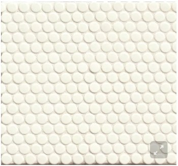 "360 White Gloss Penny Round Mosaics 3/4"" on 12X12 Sheet, DEC360WHI34G"
