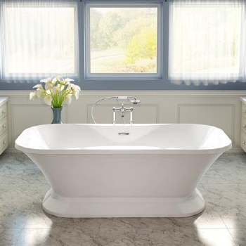 Aria Fortissimo Freestanding Tub White 70X35 With Chrome Drain & Overflow