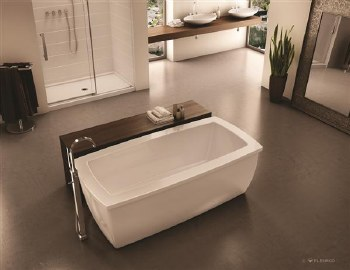 Aria Serenade White Freestanding Tub 70X35 with Chrome Drain & Overflow