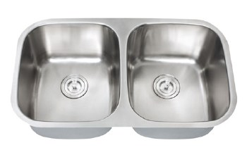 "Universe GEMINI 18 Gauge 32-1/4"" Undermount Double Bowl, Equal Bowl,  Kitchen Sink in Stainless"