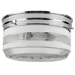 "8"" Drum Ceiling Fixture, Chrome Finish, Semi-Frosted Glass"