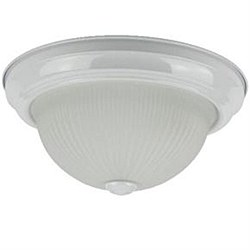 "Sunlite 11"" Decorative Dome Ceiling Fixture, Smooth White Finish, Frosted Glass, DWS11/FR"