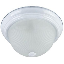 "Sunlite 13"" Decorative Dome Ceiling Fixture, Smooth White Finish, Frosted Glass, DWS13/FR"