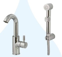 Minima Lavatory Faucet and Toilet Tap Hand Shower Combo set in Polished Chrome