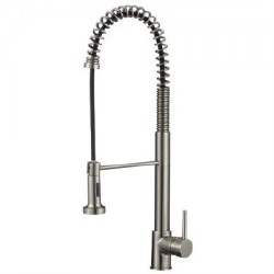 "Spring Kitchen Faucet 24"", in Satin Nickel Finish"