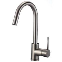 Round Kitchen Faucet, in Satin Nickel Finish