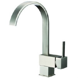 Square Kitchen Faucet, in Satin Nickel Finish