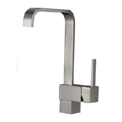 Square Curve Kitchen Faucet, in Satin Nickel