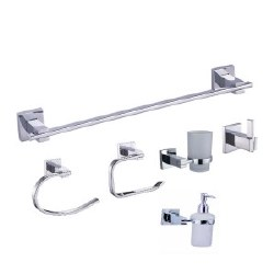 Square Accessory Set, 6 pcs, in Polished Chrome