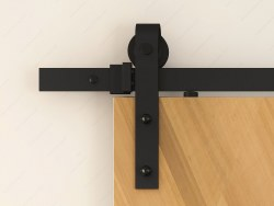 RUSTIC BARN DOOR KIT Sliding System with Flat Bar Track, Matte Black