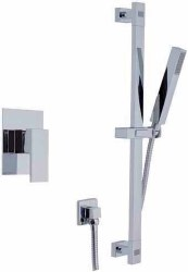 Cubic 4pc Complete Handshower Shower Set in Polished Chrome
