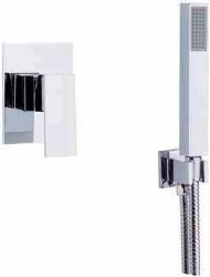 Cubic 3pc Complete Handshower Mount Shower Set in Polished Chrome