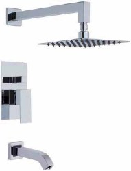 Cubic 5pc Complete Tub/Shower Set in Polished Chrome