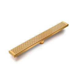 "Delmar Lotus Linear Shower Drain 28"" X 3-3/8"", in Satin Gold"