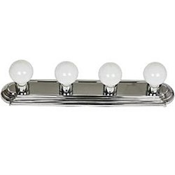 4 Lamp Vanity Globe Style Fixture, Chrome Finish