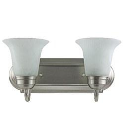Sunlite 2 Lamp Vanity Decorative Sconce Fixture, Brushed Nickel Finish, Alabaster Glass, B214/BN/AL